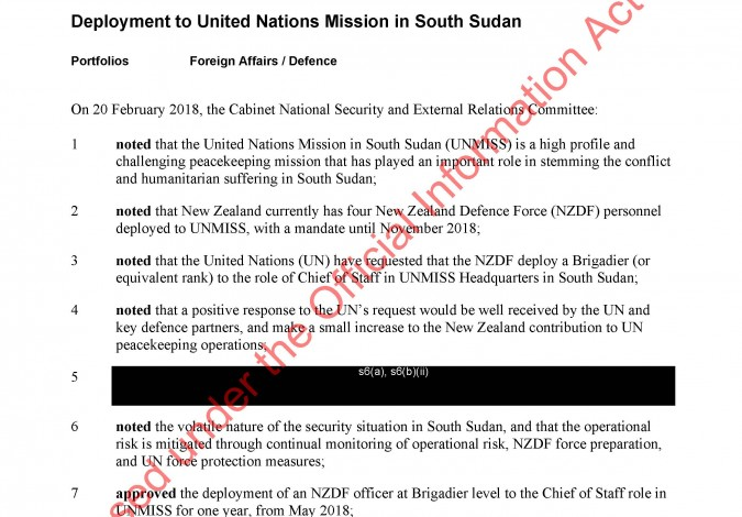 Deployment to United Nations Mission in South Sudan